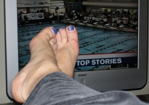 Naked feet and the news